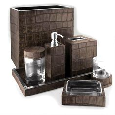 Bathroom Sets, Luxury Designer Chocolate Crocodile Leather Bath Set, one of over 3,000 limited production interior design inspirations inc, furniture, lighting, mirrors, tabletop accents and gift ideas to enjoy repin and share at InStyle Decor Beverly Hills Hollywood Luxury Home Decor enjoy & happy pinning