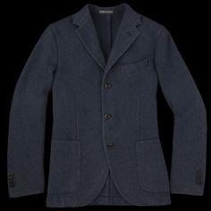 UNIONMADE - Boglioli - Herringbone Garment Washed Shetland Coat in High Blue