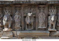 Kopeshwar temple. Brahma, Vishnu and Mahesh (Shiva) riding elephants - South. Khidrapur, Kolhapur, Maharashtra,