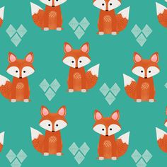 Watercolor Foxes Aqua fabric by natitys on Spoonflower - custom fabric For valance and crib skirt