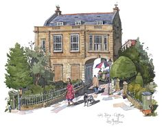 I was commissioned to do a watercolour painting in Clifton's historic Victoria Square  Snuggled in one corner of the square I was commissioned to paint, Arch House. This beautiful house has an arch running through the centre giving access to Kings Street on the other side. I spent a cold January morning drawing and meeting the locals. The people and the cats too.  See more on my blog: http://www.liamofarrell.com/2014/02/a-commission-to-paint-victoria-square-in-clifton-bristol/