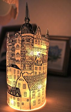 Rebeccas DIY: DIY: Papperslyktan Södermalm * Paper lantern Stockholm I used battery powered lights on a string and put it in a glass jar. I put the drawing around the jar and gued it togehter on the back using a glue gun.