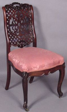 c1860Rococoside chair or dining chair, laminated rosewood, 35t, 4-1.