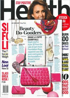 """The Avon Foundation's Rose Zippered Case got a shout out in Health Magazine's October issue's """"Beauty Do-Gooders,"""" roundup, highlighting products that give back to #BreastCancer awareness!"""