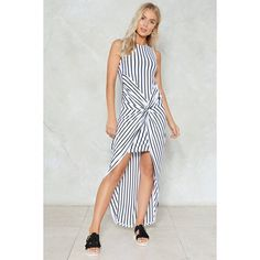 Nasty Gal Knot Over You Yet Striped Dress (€44) ❤ liked on Polyvore featuring dresses, white, maxi dresses, white striped dress, white day dress, striped maxi dress and front slit maxi dress