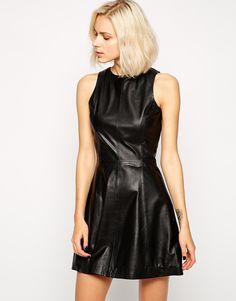 Sleeveless Black Leather Skater Dress