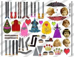 Digital Collage Sheet Zetti Style Paper Dolls (Sheet no. FS53) Instant Download