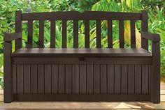 Outdoor Patio Bench POOL Storage Box Backyard Deck Furniture Brown Lawn Seating #Keter