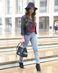 Printed pants + burgundy top + leather jacket + cap toe booties + hat!