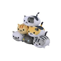"""Keep your favorite Neko Atsume kitties with you wherever you go through volume 1 of this mascot plush collection! Each is 3.5"""" and captures the smallest details that make each kitty unique like Pepper's heterochromia and each of Speckle's spots, and the ridiculously cute lineup includes Marshmallow, Pepper, Pickles, Fred, Callie, and Speckles! Set them up around your home for your very own real li... #plushie"""