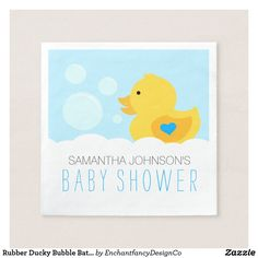 Rubber Ducky Bubble Bath Boy Baby Shower Paper Napkin It's a boy! Are you planning a bubble bath or duck themed baby shower? The Rubber Ducky Boy Baby Shower Paper Napkins are an adorable choice for baby showers for boys. It features a sweet yellow duckling with a blue heart on his wing surrounded by bath bubbles. These paper napkins will help add that special touch to your baby shower table setting. Don't forget to tie the party theme together with coordinating products designed by…