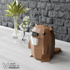 Make your own Gravity Falls Beaver Papercraft for home decor. Perfect paper sculpture of Beaver Papercraft will best wall art object of your room. Also it will extraordinary gift for party or birthday. 3d Paper Crafts, Paper Art, Paper Crafting, Paper Animals, Origami Animals, Wood Badge, 3d Origami, Origami Folding, Fall Diy