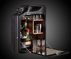 Bar Cabinet by One Copenhagen. Perfect for a man cave or garage bar. Fuel Bar, Jerry Can Mini Bar, Wall Mounted Bar, Ammo Cans, Man Cave, Diy And Crafts, Canning, The Originals, Modern