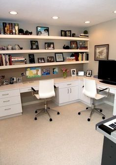 Like the wall of shelves space saving ideas and furniture placement for small home office design