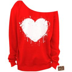 Ladies Valentine's Day Shirt Heart Slouchy Sweatshirt Grunge Splatter... ($25) ❤ liked on Polyvore featuring tops, hoodies, sweatshirts, shirts, dark orange, women's clothing, grunge shirts, graphic design shirts, unisex shirts and cut loose shirt