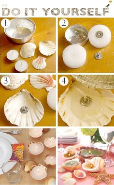 18 DIY Seaside Crafts That'll Bring The Beach Into Your Home - Craft Factory diy home crafts Seashell Crafts, Beach Crafts, Diy Home Crafts, Summer Crafts, Crafts For Kids, Craft Kids, Homemade Candles, Diy Candles, Tea Light Candles