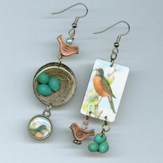 Robin Earrings Asymmetrical Woodland conservation American robin eggs nest Trading Card