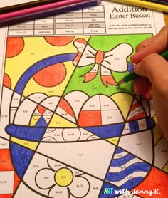Combine art with math for a fun and exciting Easter coloring activity for kids. Addition up to 20, subtraction from as high as 25 and multiplication and division that review the times tables are all included with 4 designs per operation.