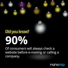 Did you know that 90% of consumers will always check a website before emailing or calling a company. www.nanorep.com Did You Know, Knowing You, Numbers, Website, Check