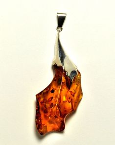 Amazingly big natural Baltic amber pendant in sterling silver