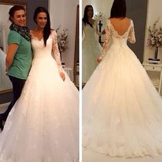 Charming V-Neck Long Sleeve Lace Wedding Party Dresses, Gorgeous Bridal Gown, WD0032 The wedding dresses are fully lined, 4 bones in the bodice, chest pad in the bust, lace up back or zipper back are