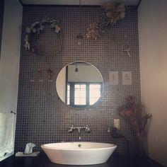 romimushiさんの、バス/トイレ,洗面所,ポストカード,タイル,ドライフラワー,鳥オブジェ,のお部屋写真