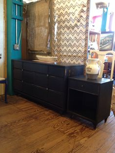 Dresser and night stand done in American Paint Company Lincoln's Hat.