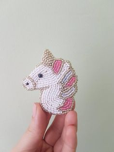 Unicorn brooch beaded unicorn embroidered animal