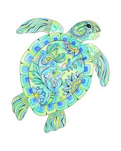 Excited to share this item from my shop: Green Sea Turtle watercolor and ink painting, giclee print of original painting done in bright blues and greens, Hawaiian Honu, turtle art Sea Turtle Painting, Sea Turtle Art, Sea Turtles, Dibujos Zentangle Art, Hawaiian Sea Turtle, Turtle Crafts, Sea Life Art, Ink Painting, Watercolor And Ink