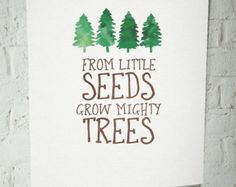 From Little Seeds Grow Mighty Trees art print/ by SweetFaceDesign