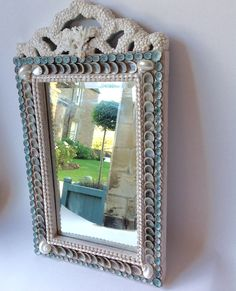 Shell Mirror - Seashell mirror with bow encrusted with pearl shells
