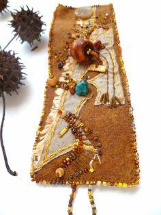 Fragments in brown II unique fiber wearable art by Cesart64, $56.00