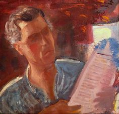 #MARFFY_ÖDÖN    *   Autorretrato, 1940. Germany And Italy, Fauvism, Modern Art, Watercolor, Portrait, Figurative, Painting, Artists, Reading