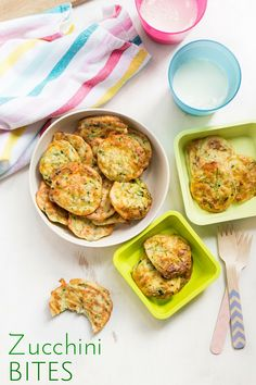 Zucchini Bites (courgette bites) are a high protein kids snack with a little veggie goodness. Delicious both hot and cold and loved by kids and adults. Savory Snacks, Healthy Snacks, Healthy Recipes, Healthy Appetizers, Toddler Meals, Kids Meals, Toddler Recipes, Toddler Food, Baby Food Recipes