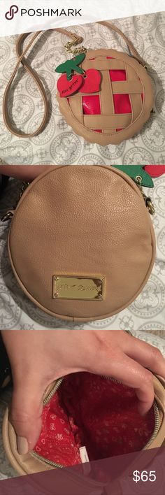 Betsey Johnson 🍒 Cherry Pie Crossbody Super cute gently used, but hard to find. Big enough for keys/phone/ wallet and not much else. No pockets, just the one main opening with zipper. I showed a picture with a small makeup stain on the inside bag lining, and a tiny bit of wear on the chain pictured Betsey Johnson Bags Crossbody Bags