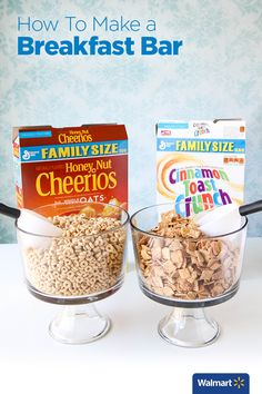 How To Make a Breakfast Bar | Walmart - Make serving easy with scoops and trifle bowls. Ditch the cereal boxes for an elegant display utilizing clear glass trifle bowls and an inexpensive all-purpose scoop. Give your guests choices by providing more than one selection of cereal.
