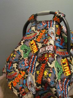 Custom Infant Carrier Cover Baby Boy Shower Gift Car Seat Canopy Marvel Comic Book With Window by BabyBoogerBear on Etsy