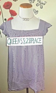 d5960c03b79 Cato Women s Size XL Sleeveless Top Tank Purple White Striped Shirt ruffle