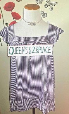 7053fe4f587 Cato Women s Size XL Sleeveless Top Tank Purple White Striped Shirt ruffle   Cato  KnitTop