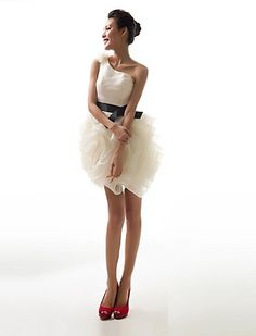 Ball Gown One Shoulder Short / Mini Organza Evening Dress - EUR € 77.56