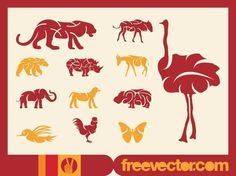 Wild Animals Graphics – About Eye Makeup Silhouette Clip Art, Animal Silhouette, Zoo Animals, Wild Animals, Vector Design, Vector Art, Types Of Animals, Sea Creatures, Free Vector Images
