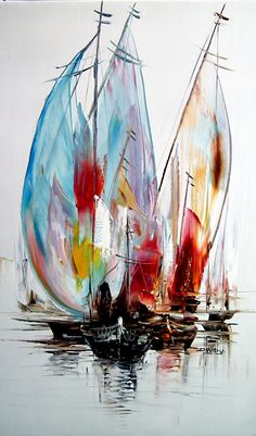 Hochfliegender Trog Abstract Inner Soulart – Socorro Gonzalez – Join the world of pin Sailboat Painting, Boat Art, Abstract Canvas Art, Painting Inspiration, Watercolor Art, Art Drawings, Fine Art, Golden Temple, Seafarer