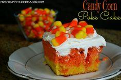 Candy Corn Poke Cake - yes, please!! #fall #halloween