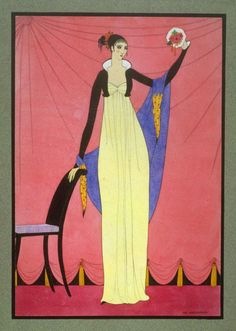 Woman dressed in Empire Style Costume. Mac Harshberger, A History of Costumes, 1928-32. Watercolor. USA. Via FAMSF
