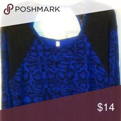 Royal Blue & Black Top Cute Long Sleeve Blue/Black Top with Lace Detail by Jessica Simpson - NWOT Jessica Simpson Tops