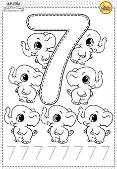 Number 7 - Preschool Printables - Free Worksheets and Coloring Pages for Kids (Learning numbers, counting - Broj 7 - Bojanke za djecu - brojevi, radni listovi BonTon TV numbers preschool brojevi coloringpages worksheets printables Numbers Preschool, Learning Numbers, Preschool Printables, Preschool Learning, Kindergarten Worksheets, Preschool Activities, Free Worksheets, Coloring Worksheets, Math Numbers