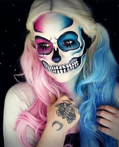 16 To Die For Skull Makeup Looks for Halloween Cosplay Makeup, Costume Makeup, Synthetic Lace Front Wigs, Synthetic Wigs, Maquillage Harley Quinn, Maquillage Sugar Skull, Helloween Make Up, Make Up Gesicht, Fantasy Make Up