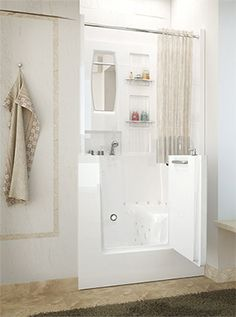 Walk-in tub that is also a shower and takes up as little space.