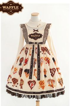 Lyreivy -Love for Waffles- Sweet Lolita JSK Version I,Lolita Dresses, Harajuku Fashion, Japan Fashion, Kawaii Fashion, Lolita Fashion, Kawaii Dress, Kawaii Clothes, Pretty Outfits, Cool Outfits, Fashion Outfits