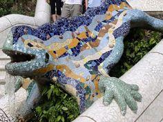 Mosaic Tile by Antoni Gaudi in Parc Guell, Barcelona Art Nouveau, Art Deco, Pisa, Reptiles, Antonio Gaudi, Parc Guell, Facts For Kids, Amsterdam, Fairy Tales